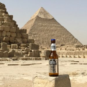 Zeos Beer in Egypt at the Pyramids