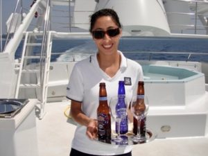 Zeos Beer - served on a yacht in the Mediterranean.